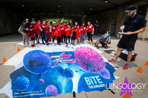 EMC Amgen BiTE chalk art ASCO online fundraiser Day One, Chicago, I